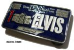 Elvis Presley Bicentennial License Plate Belt Buckle + display stand limited to 10,000. Code FG7